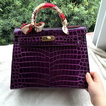 Hermes Kelly 32cm Shoulder Bag Croco Leather K32CO Purple