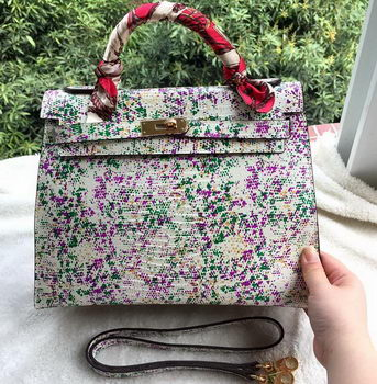 Hermes Kelly 32cm Shoulder Bag Lizard Leather K32LI Floral