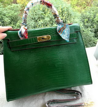 Hermes Kelly 32cm Shoulder Bag Lizard Leather K32LI Green