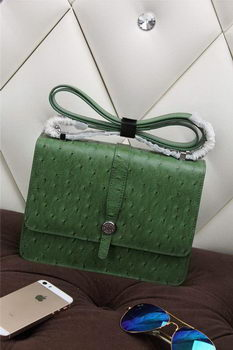 Hermes Ostrich Leather Flap Shoulder Bag H8075 Green