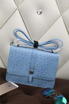 Hermes Ostrich Leather Flap Shoulder Bag H8075 SkyBlue