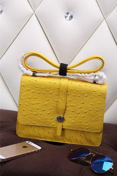 Hermes Ostrich Leather Flap Shoulder Bag H8075 Yellow