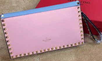 Valentino Garavani Rockstud Clutch Original Leather VO1925 Pink&Blue&Yellow