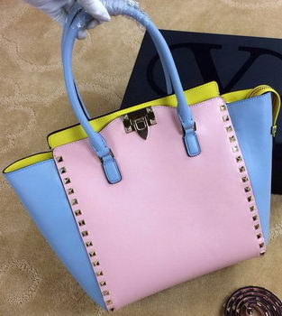 Valentino Garavani Rockstud Double Handle Bag VG1912T Pink&Blue&Yellow
