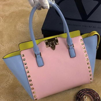 Valentino Garavani Rockstud mini Double Handle Bag VG1911T Pink&Blue&Yellow