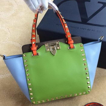Valentino Garavani Rockstud mini Tote Bag Original Leather VG1918 Green&Blue&Khaki