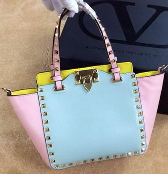 Valentino Garavani Rockstud mini Tote Bag Original Leather VG1918 Pink&Blue&Yellow