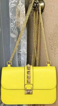 Valentino Garavani Shoulder Bag Calfskin Leather VO617 Yellow