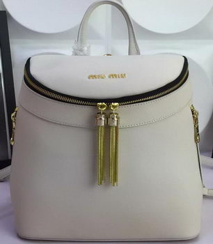 miu miu Backpack Calfskin Leather M0823 White