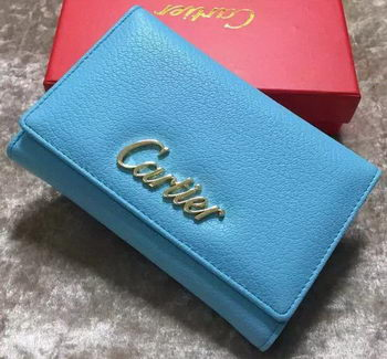 Cartier Sheepskin Leather Tri-Fold Wallet 22331 Skyblue