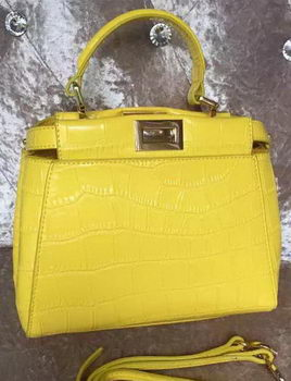 Fendi mini Peekaboo Bag Croco Leather F30320 Yellow