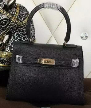 Hermes Kelly 20cm Tote Bag Litchi Leather K20 Black