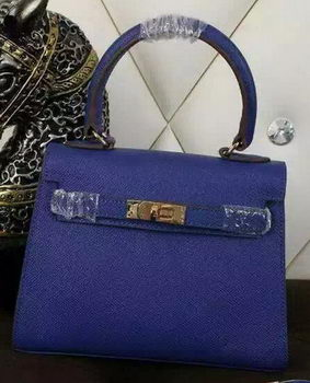 Hermes Kelly 20cm Tote Bag Litchi Leather K20 Blue