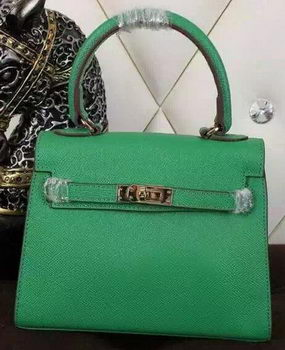 Hermes Kelly 20cm Tote Bag Litchi Leather K20 Green