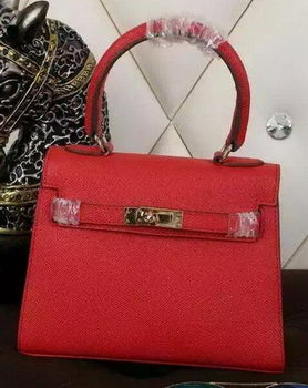 Hermes Kelly 20cm Tote Bag Litchi Leather K20 Red