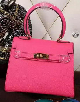Hermes Kelly 20cm Tote Bag Litchi Leather K20 Rose