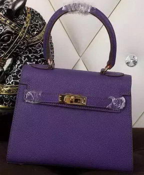 Hermes Kelly 20cm Tote Bag Litchi Leather K20 Violet