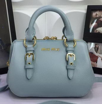 miu miu Madras Goat Leather Top-handle Bag RL1058 SkyBlue