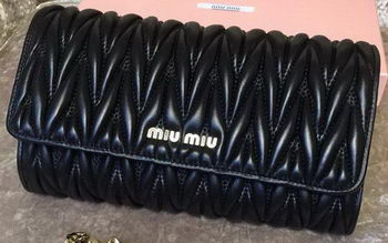 miu miu Matelasse Leather Clutch 299870 Black