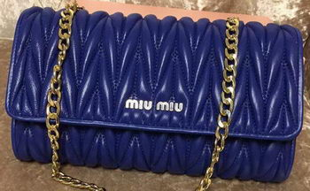 miu miu Matelasse Leather Clutch 299870 Blue