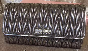 miu miu Matelasse Leather Clutch 299870 Grey