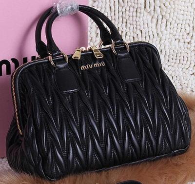 3a64e766d2c1 miu miu Matelasse Nappa Leather Top-handle Bags BN0803 Black -  249.00
