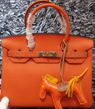 Hermes Birkin 30CM Tote Bags Litchi Leather H30LI Orange