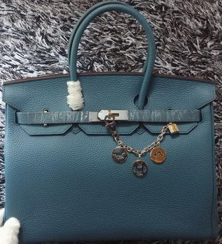 Hermes Birkin 35CM Tote Bag Litchi Leather HB35GL Blue