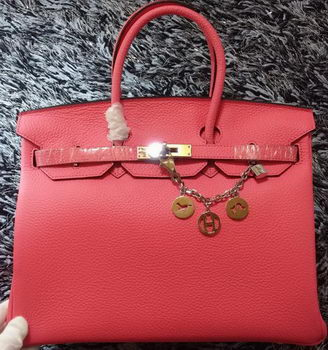 Hermes Birkin 35CM Tote Bag Litchi Leather HB35GL Cherry