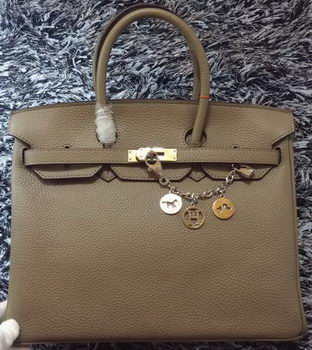 Hermes Birkin 35CM Tote Bag Litchi Leather HB35GL Grey