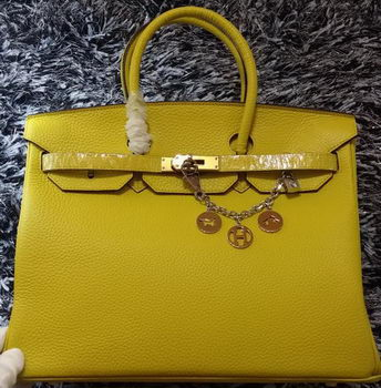 Hermes Birkin 35CM Tote Bag Litchi Leather HB35GL Lemon