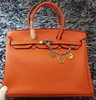 Hermes Birkin 35CM Tote Bag Litchi Leather HB35GL Orange