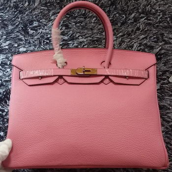 Hermes Birkin 35CM Tote Bag Litchi Leather HB35GL Pink