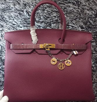 Hermes Birkin 35CM Tote Bag Litchi Leather HB35GL Purple