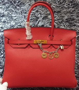 Hermes Birkin 35CM Tote Bag Litchi Leather HB35GL Red