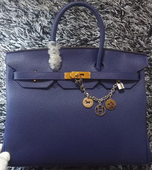 Hermes Birkin 35CM Tote Bag Litchi Leather HB35GL Royal