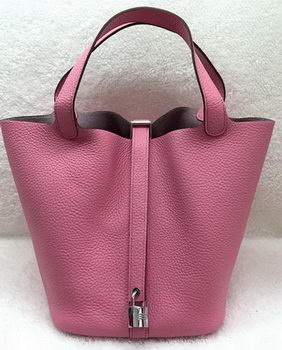 Hermes Picotin Lock 22cm Bags Litchi Leather HPL1048 Pink