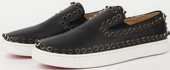 Christian Louboutin Casual Shoes Sheepskin Leather CL904 Black