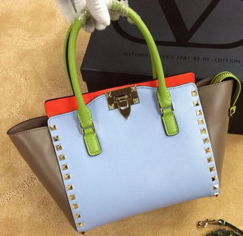 Valentino Garavani Rockstud mini Double Handle Bag VG1911T SkyBlue&Khaki&Orange