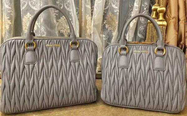 9a67e816597f miu miu Matelasse Nappa Leather Top-handle Bags BN0095 Grey -  259.00