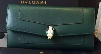 BVLGARI Wallet Pochette in Calf Leather BG0122 Green
