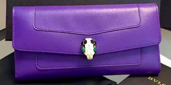 BVLGARI Wallet Pochette in Calf Leather BG0122 Purple