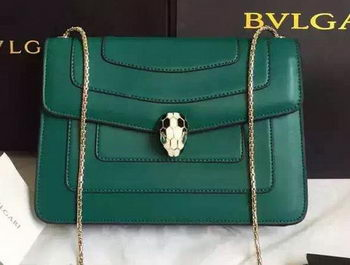 BVLGARI Shoulder Bag Calfskin Leather BG22359 Green