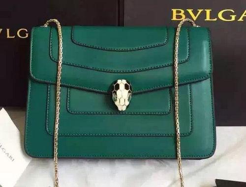 Bvlgari Shoulder Bag Calfskin Leather Bg22359 Green