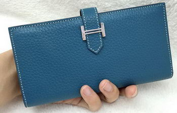 Hermes Bearn Japonaise Bi-Fold Wallet Litchi Leather A208 Blue