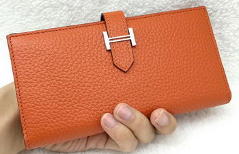 Hermes Bearn Japonaise Bi-Fold Wallet Litchi Leather A208 Orange
