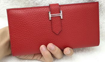 Hermes Bearn Japonaise Bi-Fold Wallet Litchi Leather A208 Red