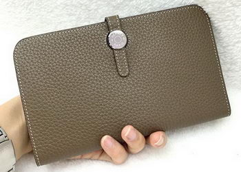 Hermes Dogon Combined Wallet Litchi Leather A508 Khaki