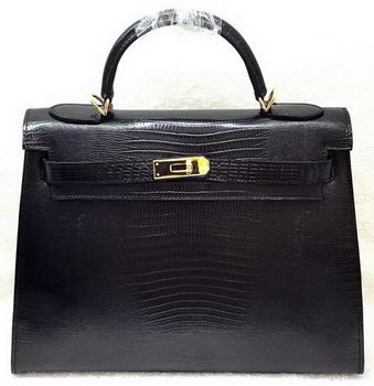 Hermes Kelly 32cm Shoulder Bag Lizard Leather K32LI Black