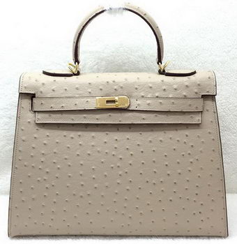 Hermes Kelly 32cm Shoulder Bag Ostrich Leather K32LI Apricot